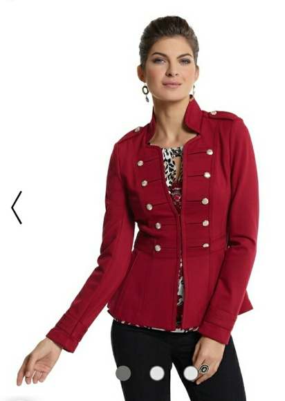 White House Black Market Jackets & Blazers - WHBM Red Jacket Military Style